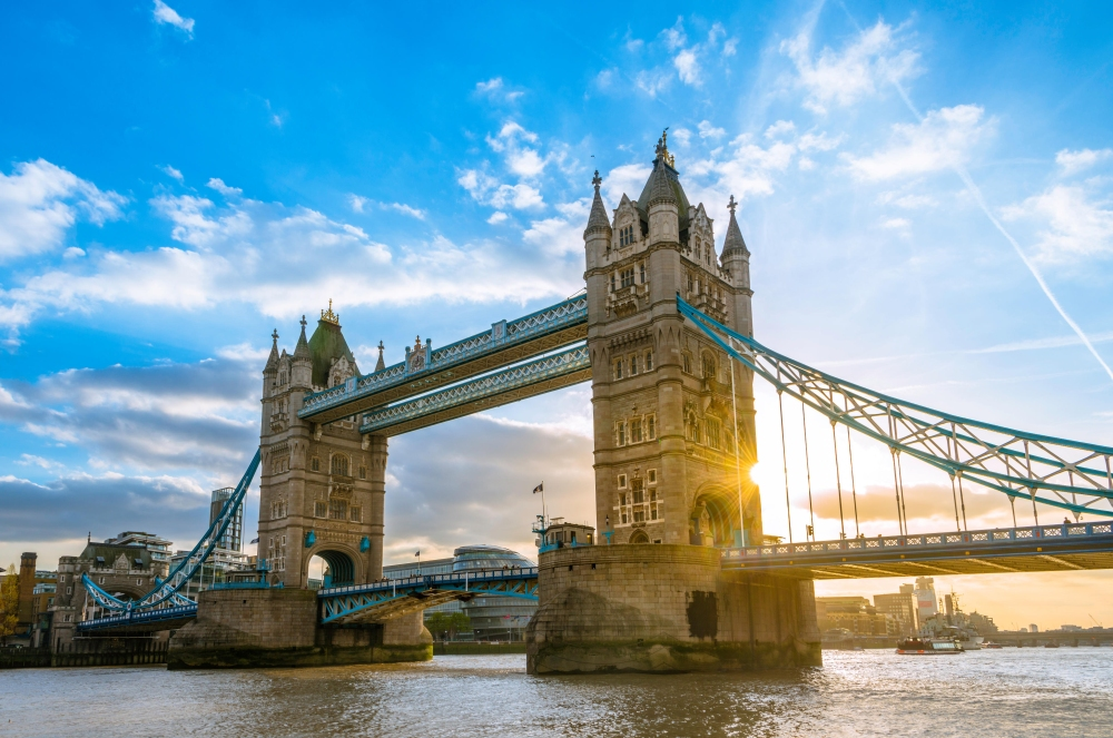Tower Bridge over the Thames at sunset, London, England, United Kingdom