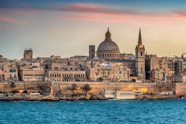 Valletta, Malta: skyline from Marsans Harbour at sunset